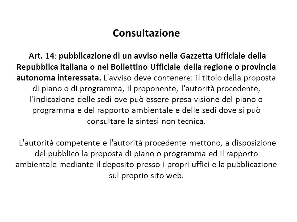 Consultazione Art. 14: pubblicazione di un avviso nella Gazzetta Ufficiale della Repubblica italiana o nel Bollettino Ufficiale della regione o provin