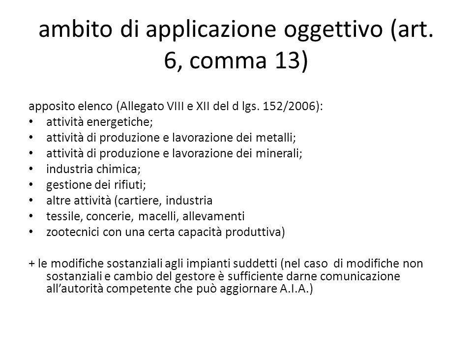 ambito di applicazione oggettivo (art. 6, comma 13) apposito elenco (Allegato VIII e XII del d lgs. 152/2006): attività energetiche; attività di produ