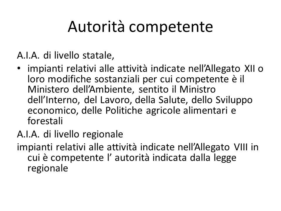 Autorità competente A.I.A. di livello statale, impianti relativi alle attività indicate nell'Allegato XII o loro modifiche sostanziali per cui compete