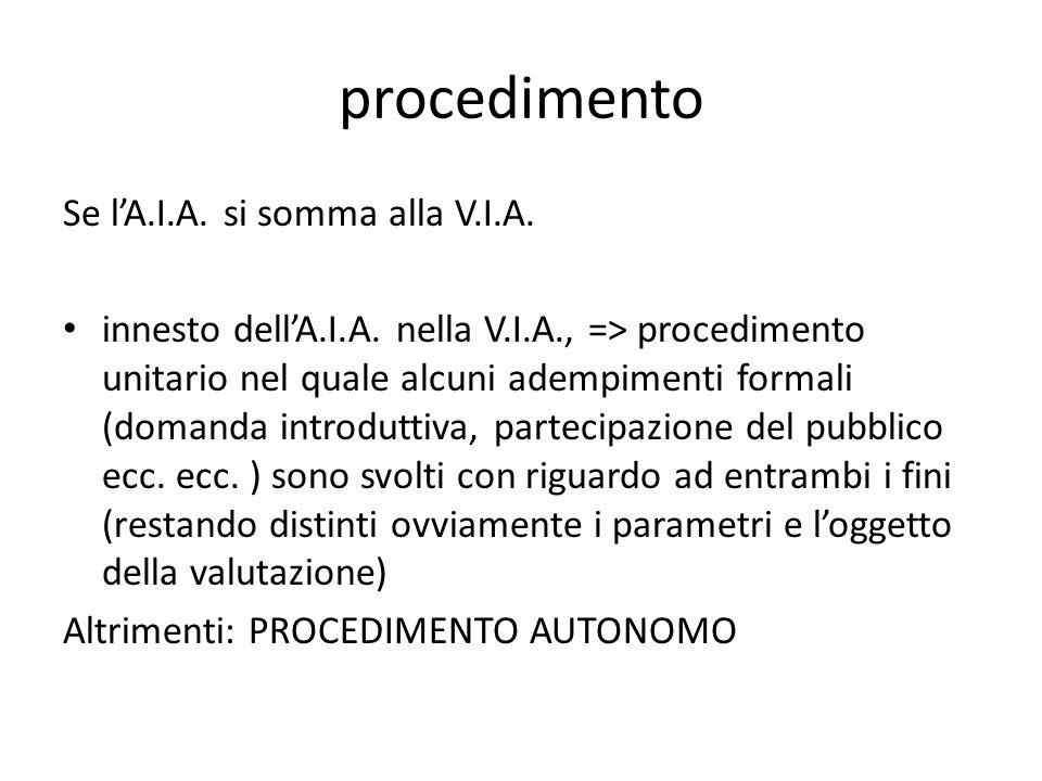 procedimento Se l'A.I.A. si somma alla V.I.A. innesto dell'A.I.A. nella V.I.A., => procedimento unitario nel quale alcuni adempimenti formali (domanda