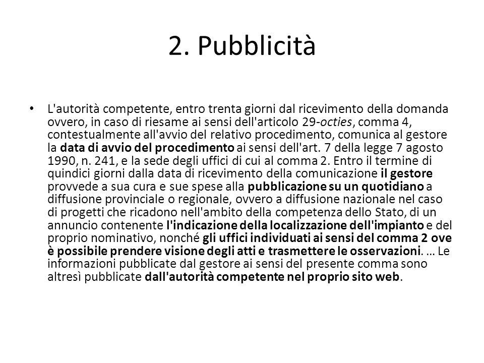 2. Pubblicità L'autorità competente, entro trenta giorni dal ricevimento della domanda ovvero, in caso di riesame ai sensi dell'articolo 29-octies, co