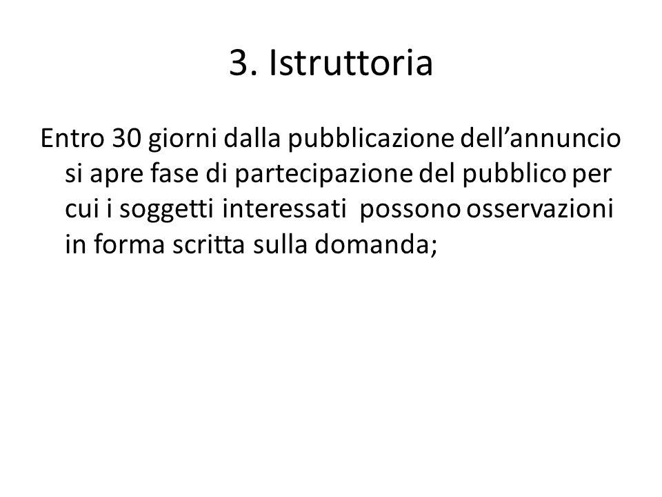 3. Istruttoria Entro 30 giorni dalla pubblicazione dell'annuncio si apre fase di partecipazione del pubblico per cui i soggetti interessati possono os