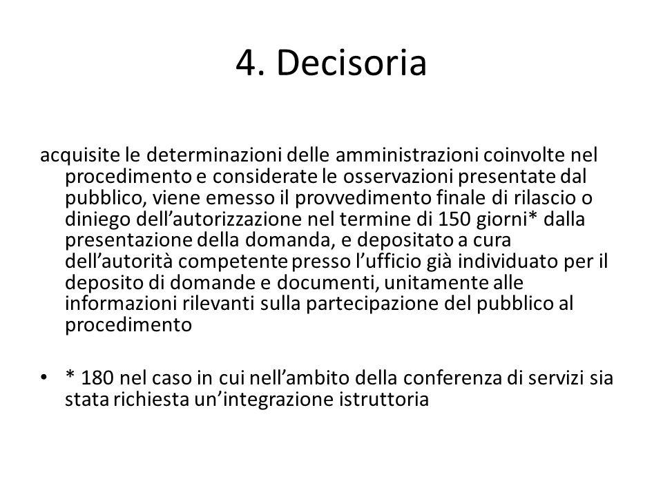 4. Decisoria acquisite le determinazioni delle amministrazioni coinvolte nel procedimento e considerate le osservazioni presentate dal pubblico, viene