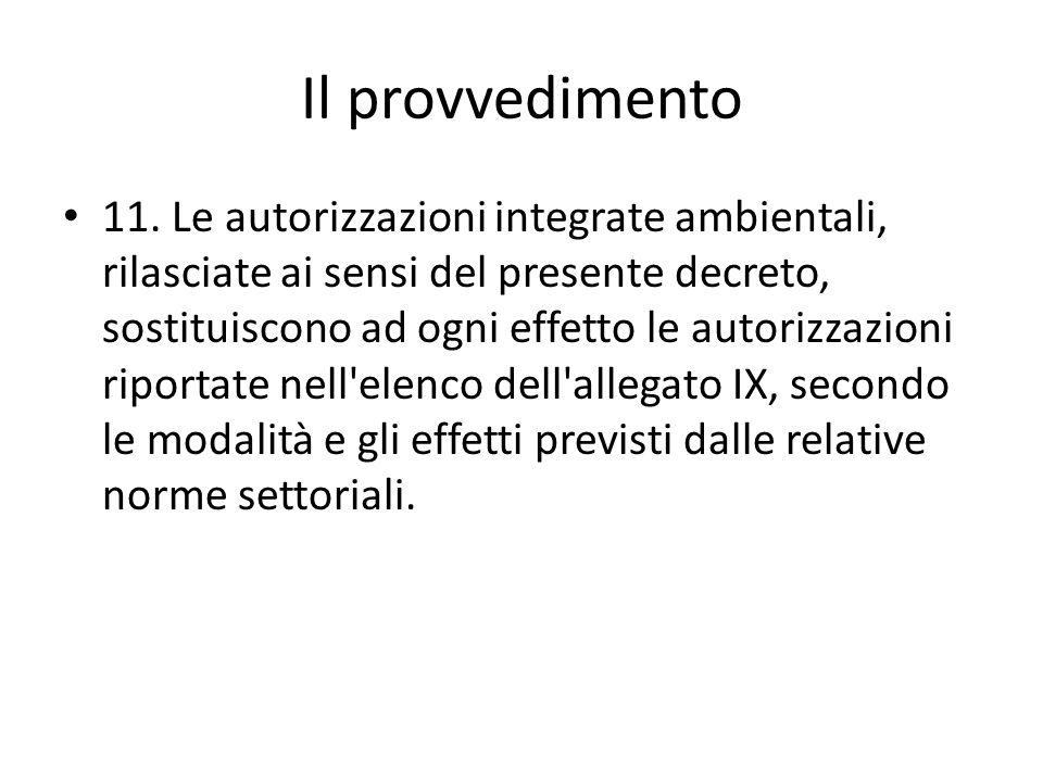 Il provvedimento 11. Le autorizzazioni integrate ambientali, rilasciate ai sensi del presente decreto, sostituiscono ad ogni effetto le autorizzazioni