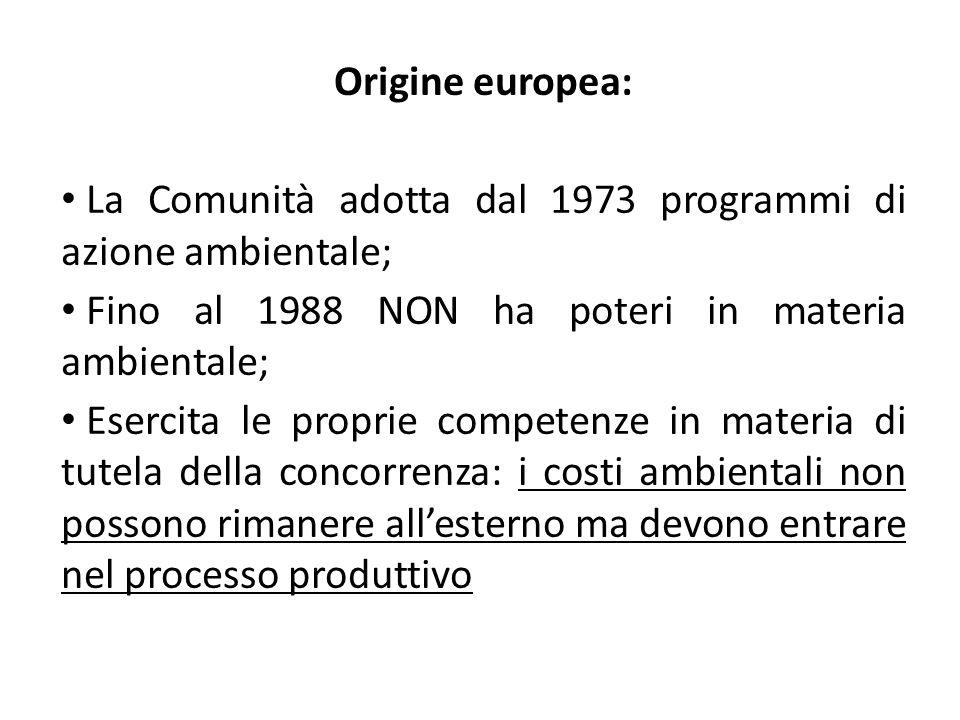 Origine europea: La Comunità adotta dal 1973 programmi di azione ambientale; Fino al 1988 NON ha poteri in materia ambientale; Esercita le proprie com