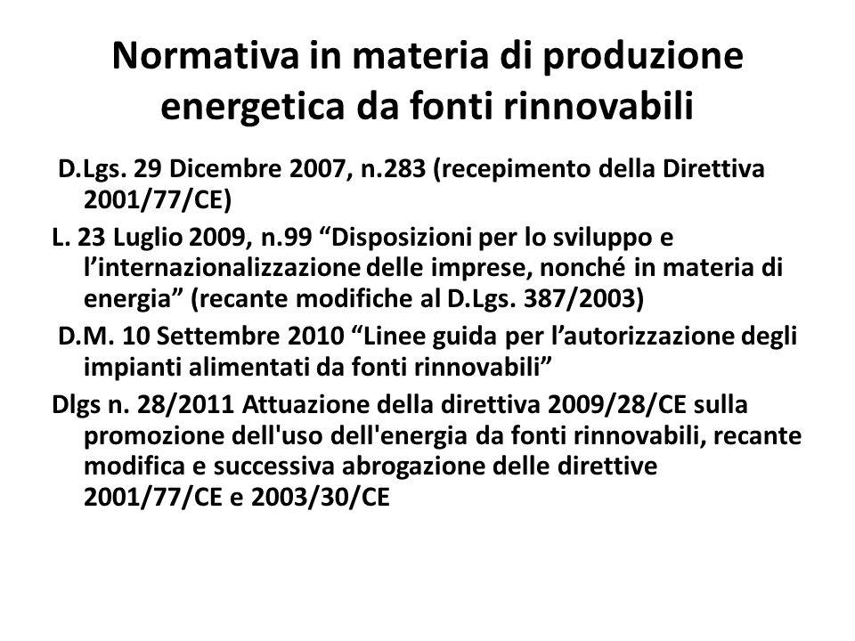 Normativa in materia di produzione energetica da fonti rinnovabili D.Lgs. 29 Dicembre 2007, n.283 (recepimento della Direttiva 2001/77/CE) L. 23 Lugli
