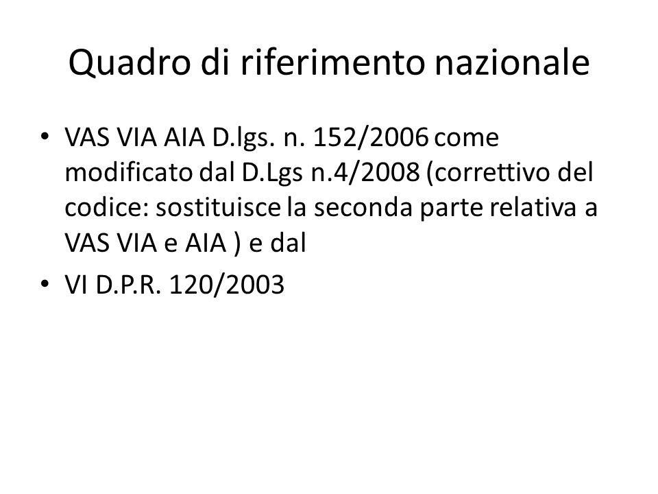 Quadro di riferimento nazionale VAS VIA AIA D.lgs. n. 152/2006 come modificato dal D.Lgs n.4/2008 (correttivo del codice: sostituisce la seconda parte