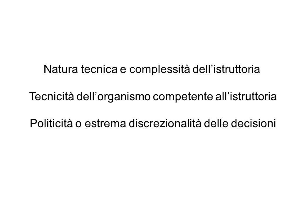 Natura tecnica e complessità dell'istruttoria Tecnicità dell'organismo competente all'istruttoria Politicità o estrema discrezionalità delle decisioni