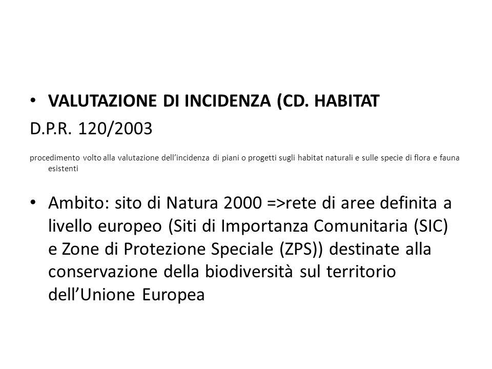 VALUTAZIONE DI INCIDENZA (CD. HABITAT D.P.R. 120/2003 procedimento volto alla valutazione dell'incidenza di piani o progetti sugli habitat naturali e