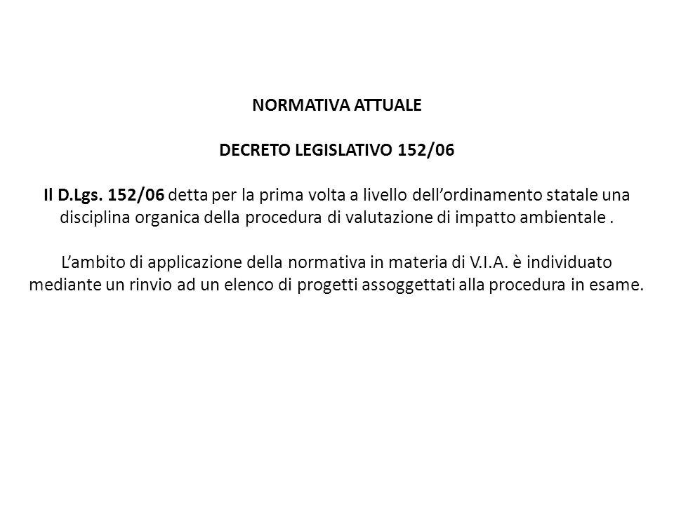 NORMATIVA ATTUALE DECRETO LEGISLATIVO 152/06 Il D.Lgs. 152/06 detta per la prima volta a livello dell'ordinamento statale una disciplina organica dell