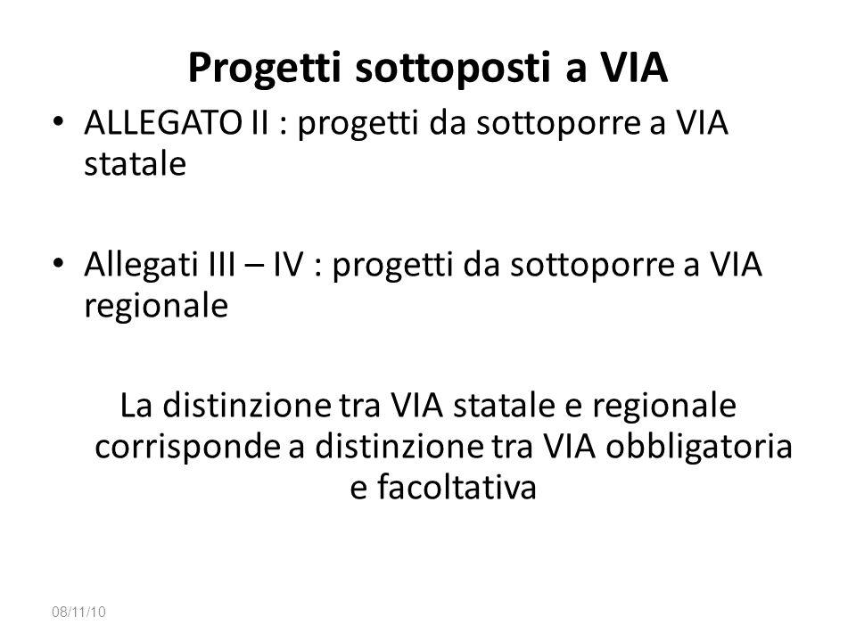 Progetti sottoposti a VIA ALLEGATO II : progetti da sottoporre a VIA statale Allegati III – IV : progetti da sottoporre a VIA regionale La distinzione
