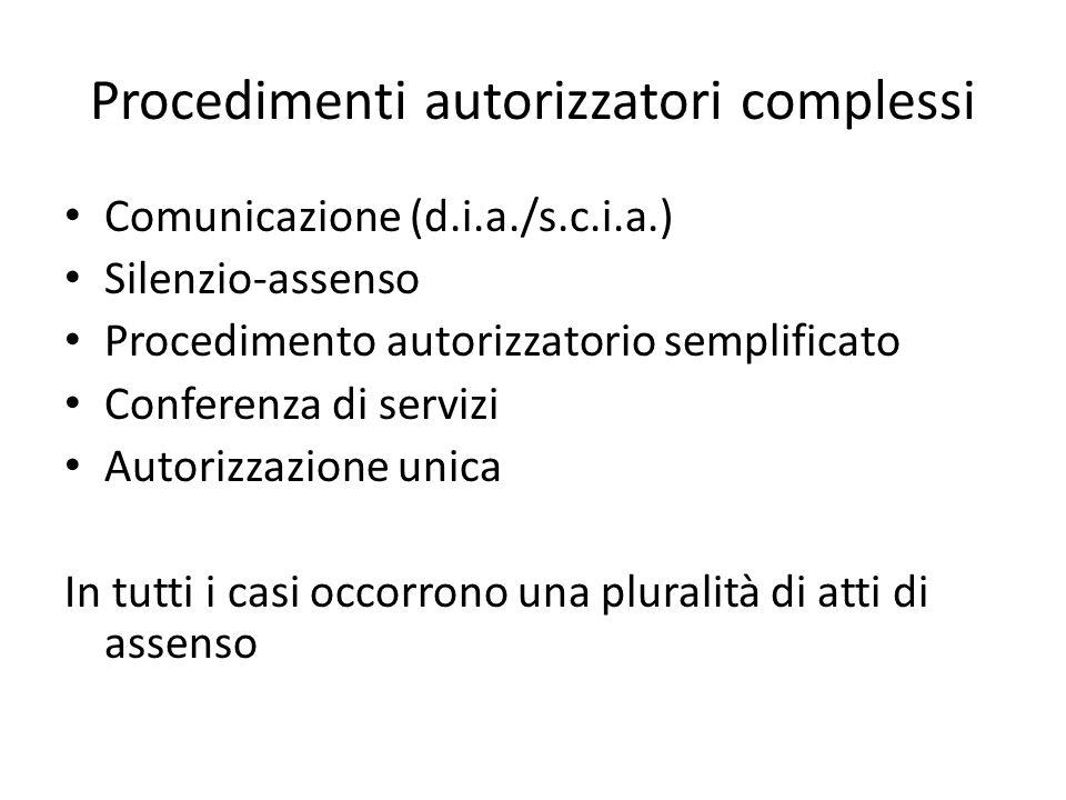 Procedimenti autorizzatori complessi Comunicazione (d.i.a./s.c.i.a.) Silenzio-assenso Procedimento autorizzatorio semplificato Conferenza di servizi A