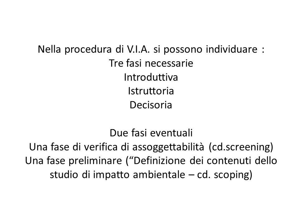 Nella procedura di V.I.A. si possono individuare : Tre fasi necessarie Introduttiva Istruttoria Decisoria Due fasi eventuali Una fase di verifica di a