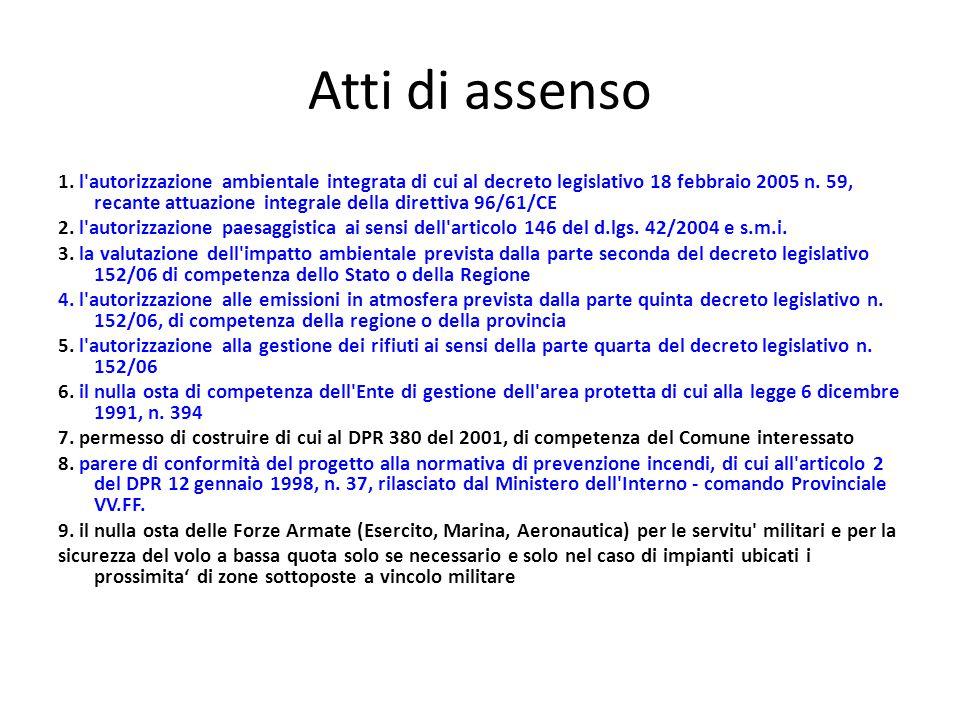 Atti di assenso 1. l'autorizzazione ambientale integrata di cui al decreto legislativo 18 febbraio 2005 n. 59, recante attuazione integrale della dire