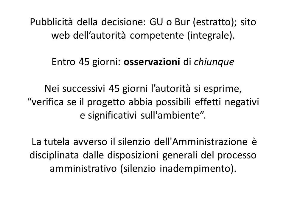 Pubblicità della decisione: GU o Bur (estratto); sito web dell'autorità competente (integrale). Entro 45 giorni: osservazioni di chiunque Nei successi