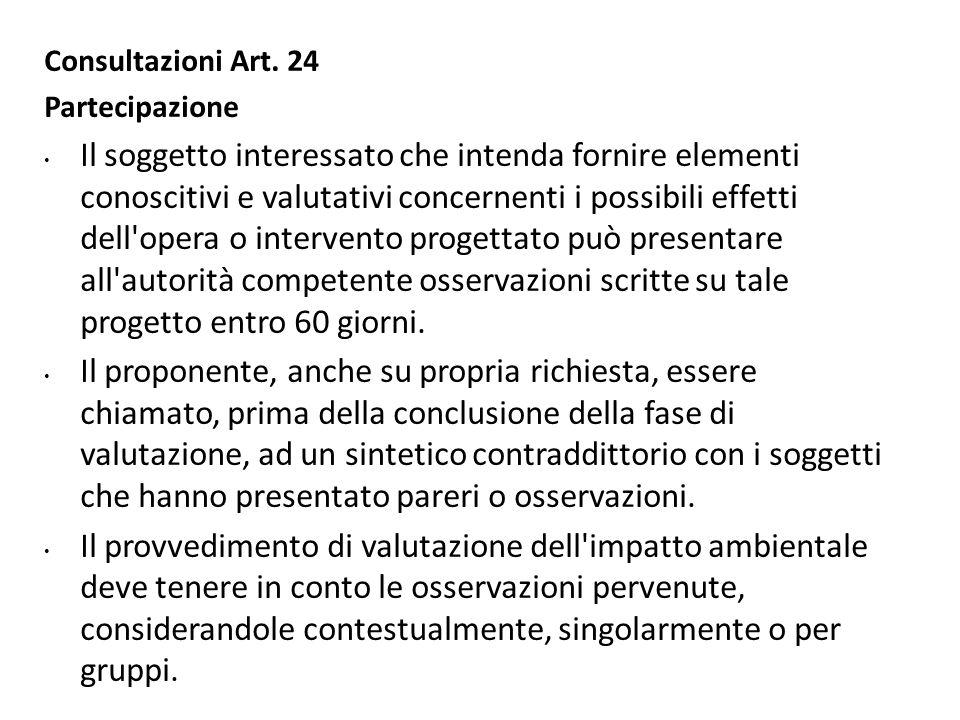 Consultazioni Art. 24 Partecipazione Il soggetto interessato che intenda fornire elementi conoscitivi e valutativi concernenti i possibili effetti del