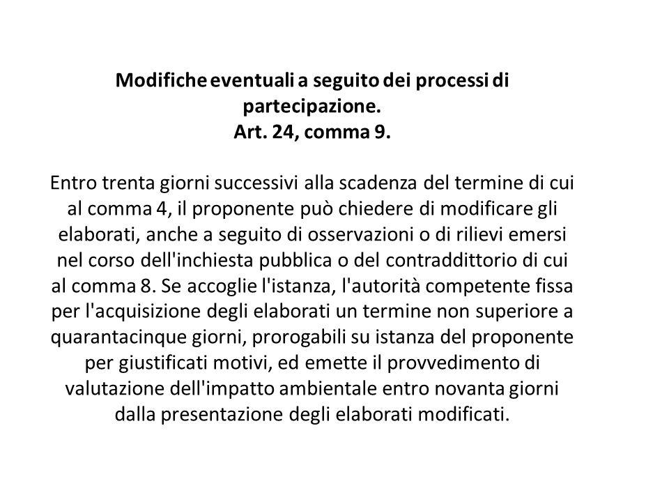 Modifiche eventuali a seguito dei processi di partecipazione. Art. 24, comma 9. Entro trenta giorni successivi alla scadenza del termine di cui al com
