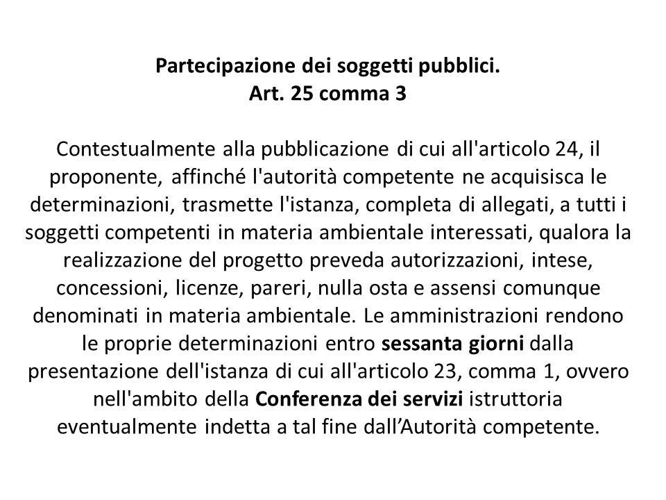 Partecipazione dei soggetti pubblici. Art. 25 comma 3 Contestualmente alla pubblicazione di cui all'articolo 24, il proponente, affinché l'autorità co