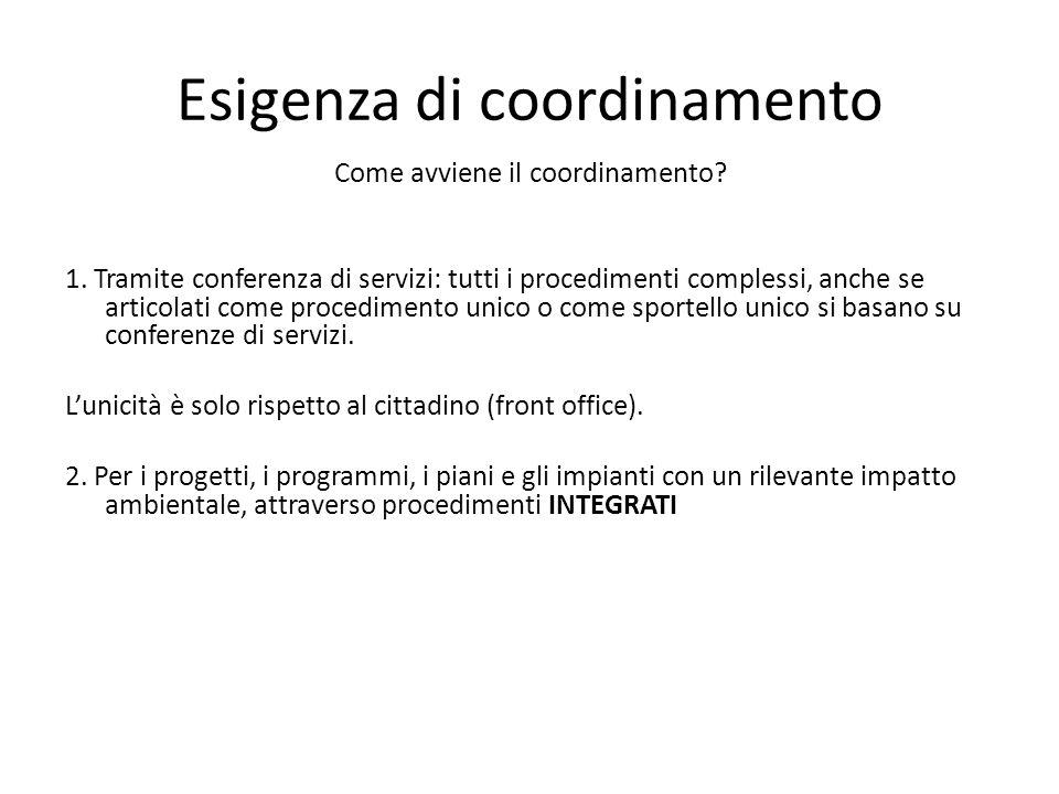 Esigenza di coordinamento Come avviene il coordinamento? 1. Tramite conferenza di servizi: tutti i procedimenti complessi, anche se articolati come pr