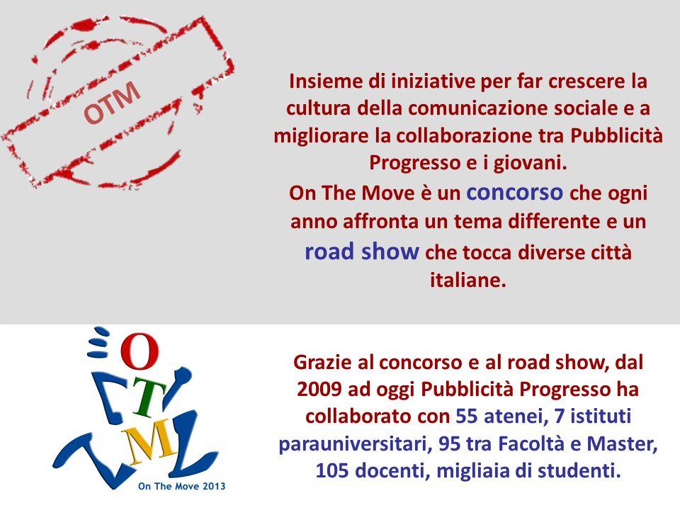 OTM Insieme di iniziative per far crescere la cultura della comunicazione sociale e a migliorare la collaborazione tra Pubblicità Progresso e i giovani.