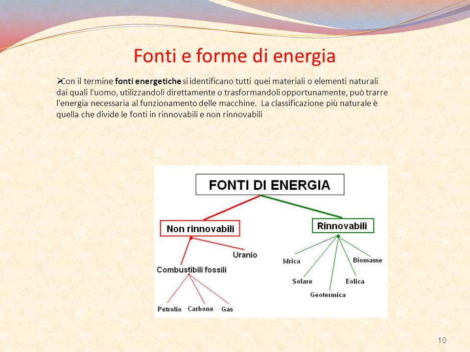 Fonti e forme di energia  Con il termine fonti energetiche si identificano tutti quei materiali o elementi naturali dai quali l'uomo, utilizzandoli d