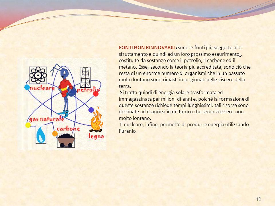 FONTI NON RINNOVABILI: sono le fonti più soggette allo sfruttamento e quindi ad un loro prossimo esaurimento, costituite da sostanze come il petrolio,