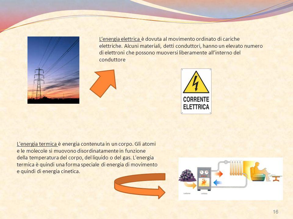 L'energia elettrica è dovuta al movimento ordinato di cariche elettriche. Alcuni materiali, detti conduttori, hanno un elevato numero di elettroni che