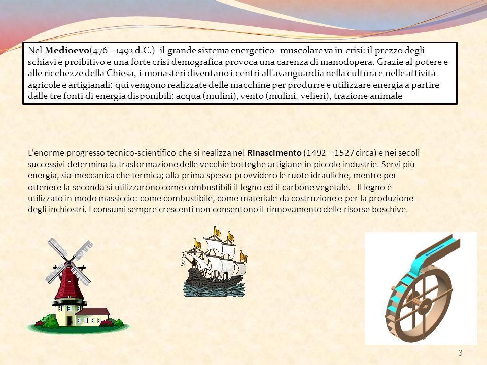 Nel Medioevo(476 – 1492 d.C.) il grande sistema energetico muscolare va in crisi: il prezzo degli schiavi è proibitivo e una forte crisi demografica p