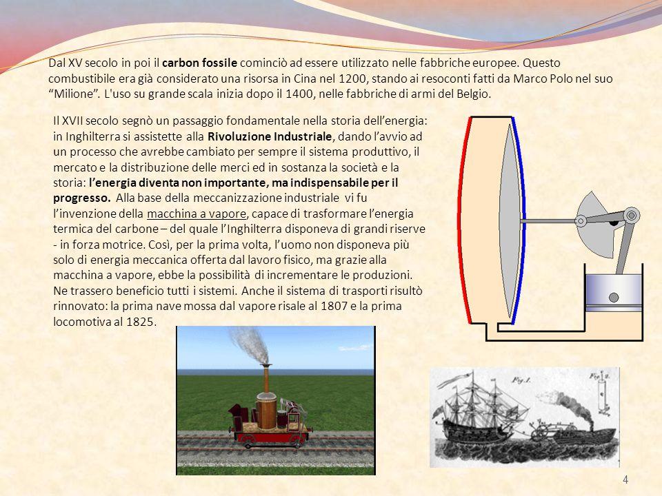 Il XVII secolo segnò un passaggio fondamentale nella storia dell'energia: in Inghilterra si assistette alla Rivoluzione Industriale, dando l'avvio ad