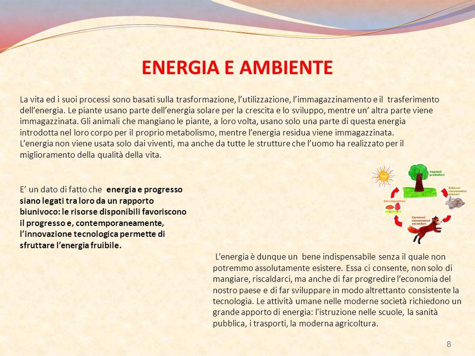 ENERGIA E AMBIENTE La vita ed i suoi processi sono basati sulla trasformazione, l'utilizzazione, l'immagazzinamento e il trasferimento dell'energia. L