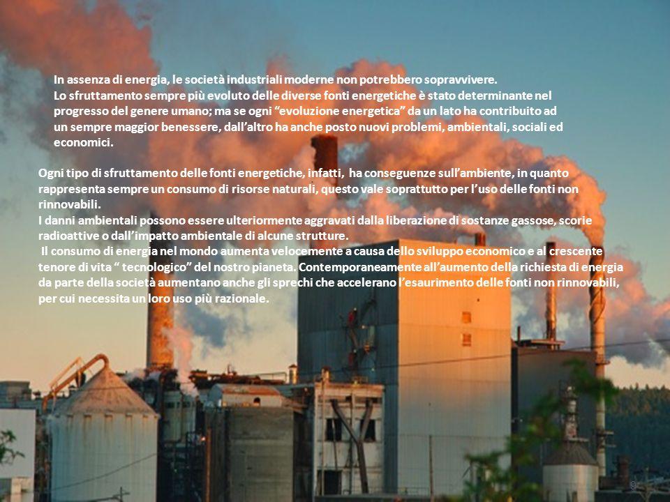 In assenza di energia, le società industriali moderne non potrebbero sopravvivere. Lo sfruttamento sempre più evoluto delle diverse fonti energetiche
