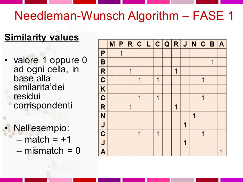 Tre fasi 1.Determinazione residui identici 2.Per ogni cella, cercare il valore massimo nei percorsi che dalla cella stessa portano all'inizio della sequenza e dare alla cella il valore del maximum scoring pathway 3.Costruire l'allineamento ottimale, andando indietro dalla cella con il punteggio piu' alto fino all'inizio della matrice ALGORITMO DI NEEDLEMAN & WUNSCH PER L'ALLINEAMENTO GLOBALE Questo metodo permette di determinare l'allineamento globale ottimale attraverso un'interpretazione computazionale della matrice dotplot.