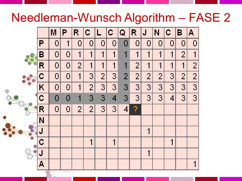 Needleman-Wunsch Algorithm – FASE 2 Procedo da in alto sinistra verso in basso a destra nella matrice Per ogni cella, voglio determinare il valore massimo possibile per un allineamento che termini in corrispondenza della cella stessa Cerco le celle appartenenti alla colonna e alla riga precedenti a quelle della cella per trovare il valore massimo in esse contenuto Aggiungo questo valore al valore della cella corrente