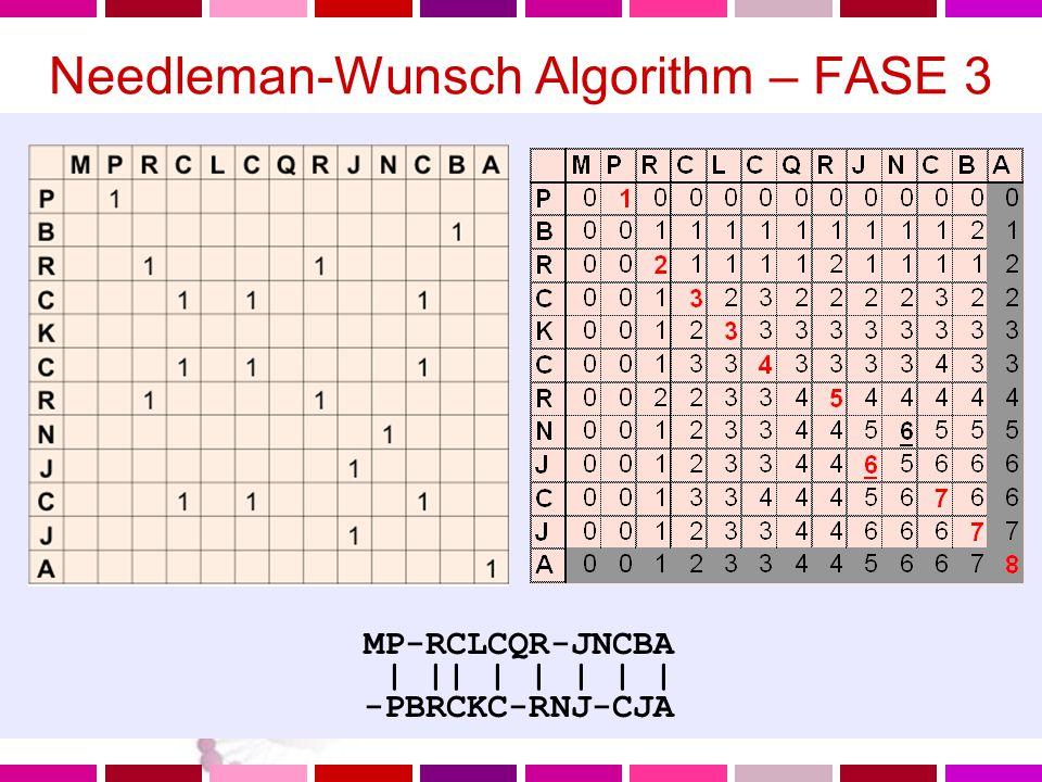 Needleman-Wunsch Algorithm – FASE 3 Costruisco l'allineamento Il punteggio dell'allineamento e' cumulativo (posso sommare lungo i percorsi nella direzione stabilita) Il miglior allineamento ha il massimo punteggio (ovvero il massimo numero di matches) Questo massimo numero di matches si ritrovera' nelle ultime righe o colonne L'allineamento si costruisce andando indietro alla cella1,1 a partire dalla cella imn basso a destra con punteggio massimo.