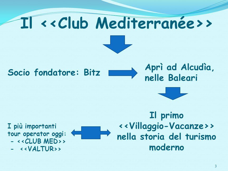 3 Il > Aprì ad Alcudìa, nelle Baleari Socio fondatore: Bitz Il primo > nella storia del turismo moderno I più importanti tour operator oggi: - >