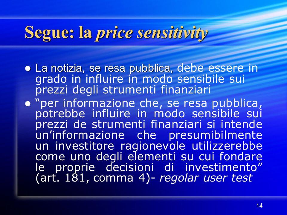 14 Segue: la price sensitivity La notizia, se resa pubblica, La notizia, se resa pubblica, debe essere in grado in influire in modo sensibile sui prez