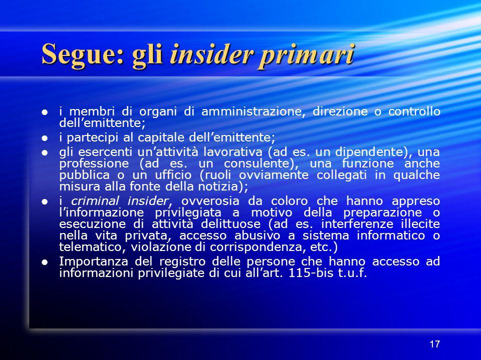 17 Segue: gli insider primari i membri di organi di amministrazione, direzione o controllo dell'emittente; i partecipi al capitale dell'emittente; gli