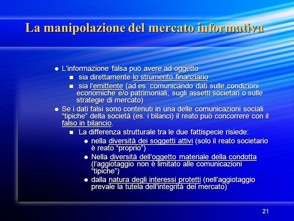 21 La manipolazione del mercato informativa L'informazione falsa può avere ad oggetto L'informazione falsa può avere ad oggetto sia direttamente lo st