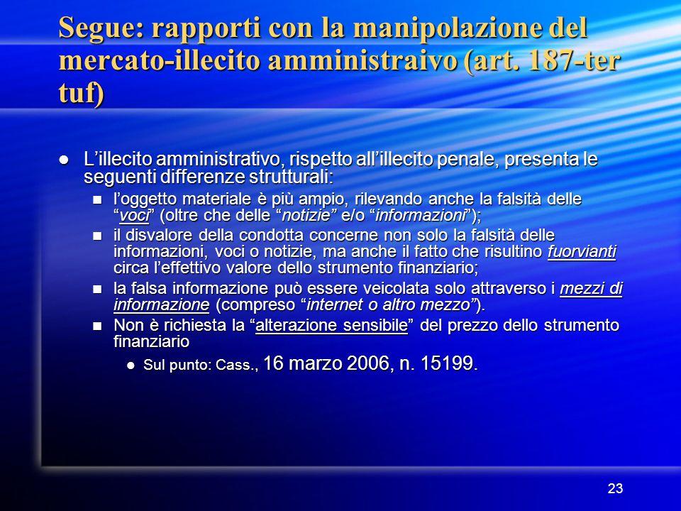 23 Segue: rapporti con la manipolazione del mercato-illecito amministraivo (art. 187-ter tuf) L'illecito amministrativo, rispetto all'illecito penale,