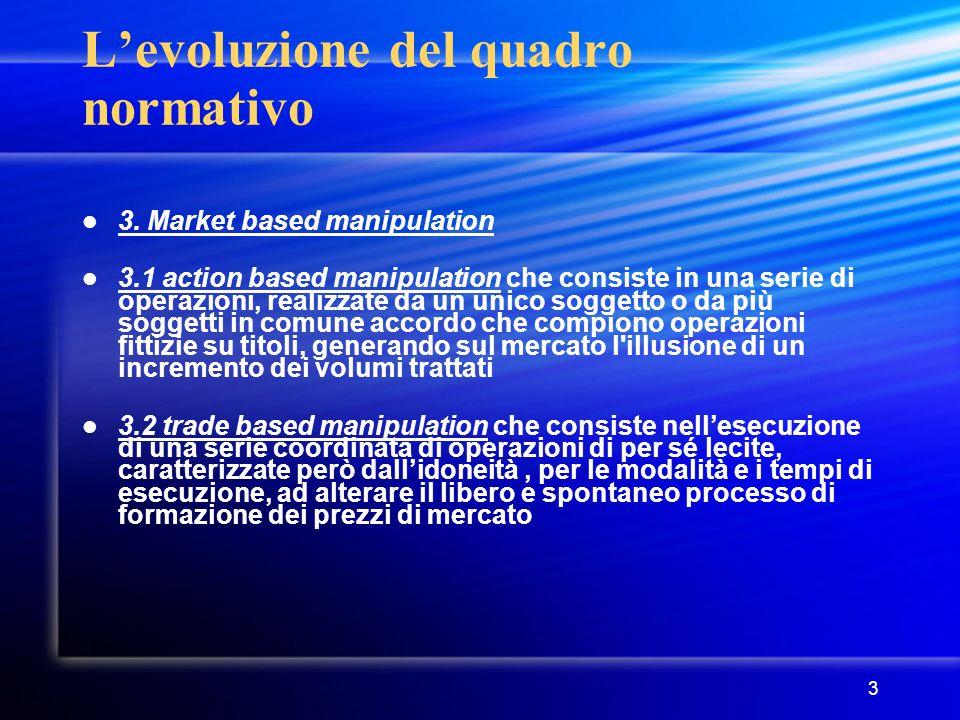 3 L'evoluzione del quadro normativo 3. Market based manipulation 3.1 action based manipulation che consiste in una serie di operazioni, realizzate da