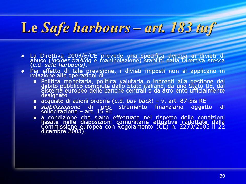 30 Le Safe harbours – art. 183 tuf La Direttiva 2003/6/CE prevede una specifica deroga ai divieti di abuso (insider trading e manipolazione) stabiliti