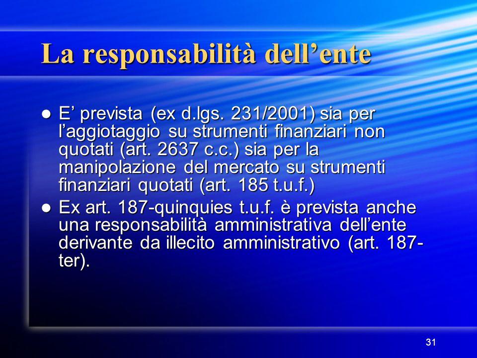 31 La responsabilità dell'ente E' prevista (ex d.lgs. 231/2001) sia per l'aggiotaggio su strumenti finanziari non quotati (art. 2637 c.c.) sia per la