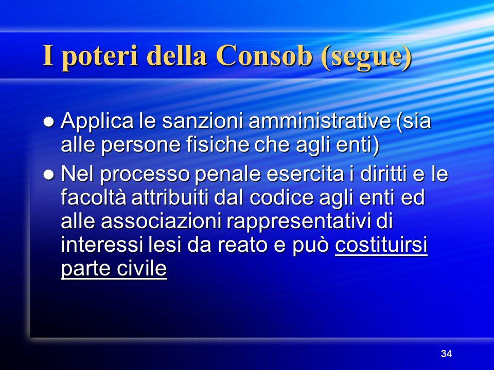 34 I poteri della Consob (segue) Applica le sanzioni amministrative (sia alle persone fisiche che agli enti) Applica le sanzioni amministrative (sia a