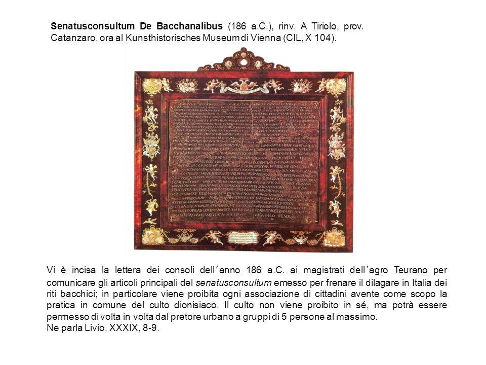 Senatusconsultum De Bacchanalibus (186 a.C.), rinv.