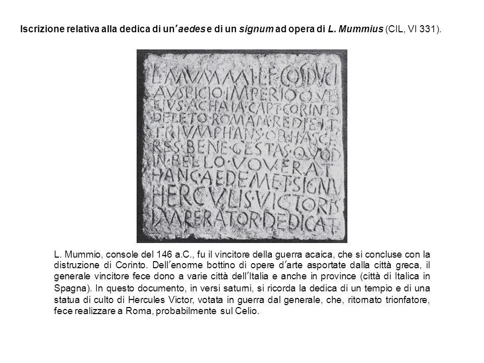 Iscrizione relativa alla dedica di un'aedes e di un signum ad opera di L.