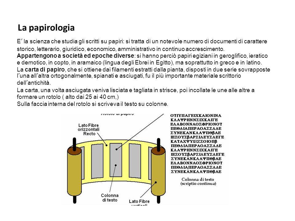 L'epigrafia E' la scienza che studia quanto è scritto su materiale durevole – a confine con la papirologia.