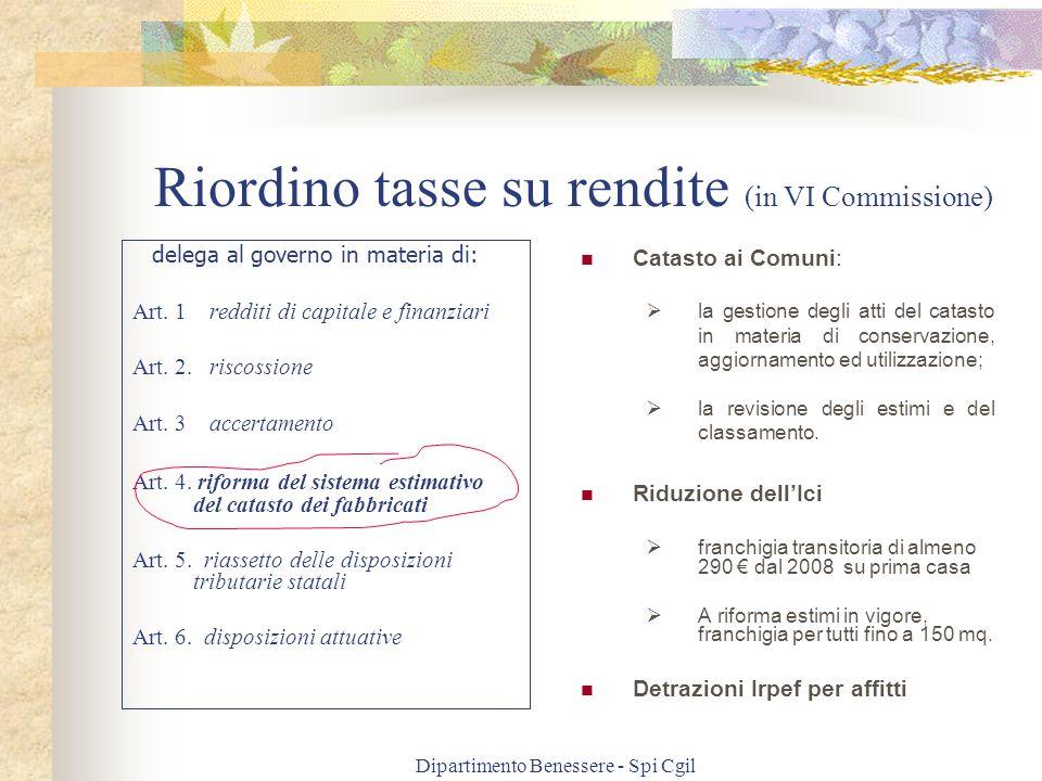 Dipartimento Benessere - Spi Cgil Riordino tasse su rendite (in VI Commissione) delega al governo in materia di: Art.