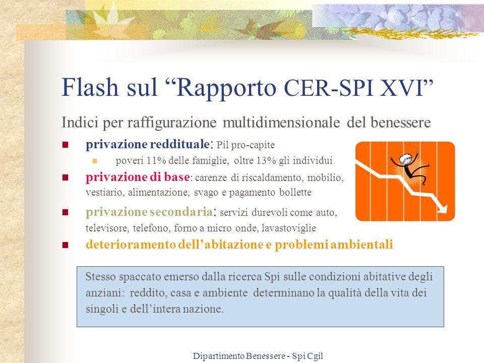 """Dipartimento Benessere - Spi Cgil Flash sul """"Rapporto CER-SPI XVI"""" Indici per raffigurazione multidimensionale del benessere privazione reddituale : P"""