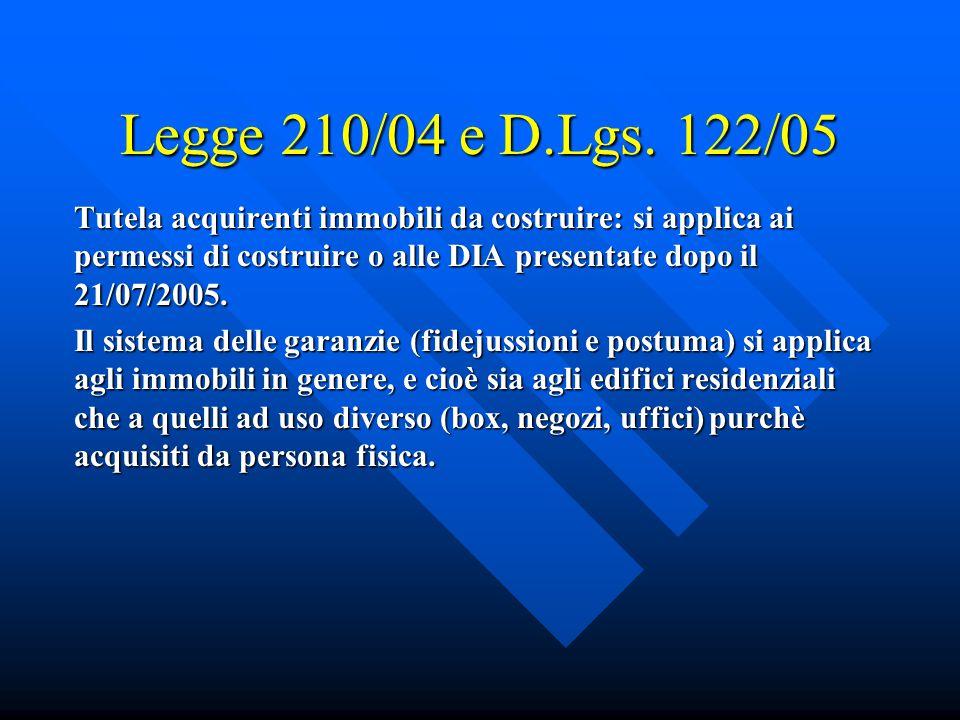 Legge 210/04 e D.Lgs.