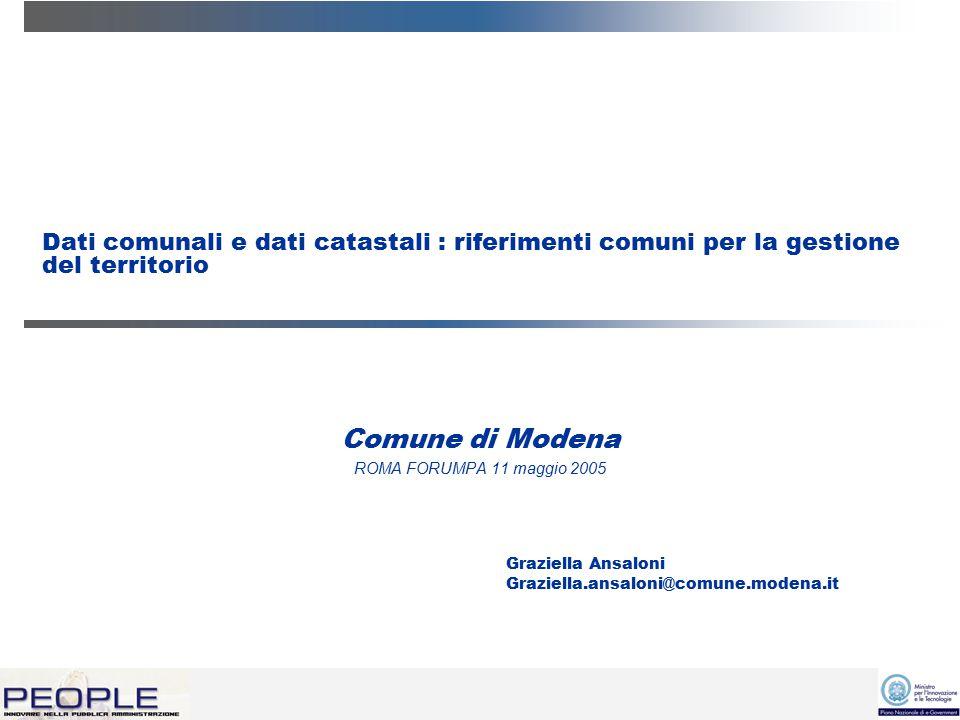 Dati comunali e dati catastali : riferimenti comuni per la gestione del territorio Comune di Modena ROMA FORUMPA 11 maggio 2005 Graziella Ansaloni Graziella.ansaloni@comune.modena.it